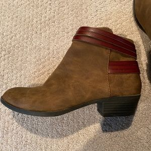 light brown short bootie boot